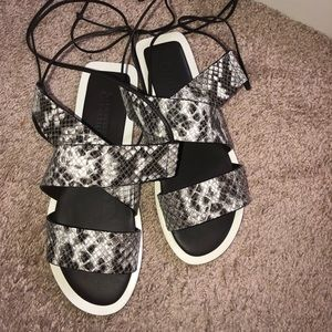 Mercedes Castillo Lace up sandal Python print NEW